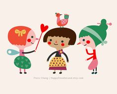 Playing Time Print via Etsy | Flora Chang, Happy Doodle Land