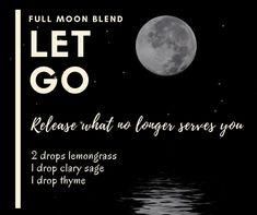Let go blend - full moon! Doterra Oil Diffuser, Essential Oil Diffuser Blends, Doterra Essential Oils, Making Essential Oils, Essential Oil Uses, Natural Essential Oils, Doterra Blends, Oil Mix, Diffuser Recipes