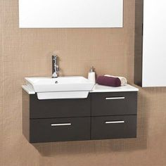 "Skinny (19"" depth) but with a little counterspace and some drawers.  36"" Caro Espresso Modern Bathroom Vanity"
