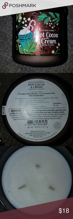 (HOT COCOA AND CREAM) BBW Candle! New, never lit, price is firm! bath and body works Other