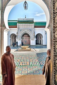 The University of Al-Karaouine or Al-Qarawiyyin is a university located in Fes, Morocco which was founded in 859. It is part of a mosque, founded by Fatima al-Fihria, the daughter of a wealthy merchant named Mohammed Al-Fihri - Photograph by Tomasz Dziubinski.