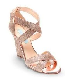 rose gold colored wedge sandals
