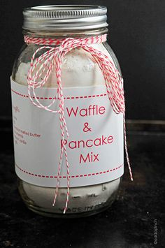 Buttermilk Waffle and Pancake Mix Recipe + Printable ~ Says: a wonderful staple to have on hand as well as to give as gifts  throughout the year... Each side of the printable gives easy to read and follow instruction on how to use the mix for making waffles or pancakes.
