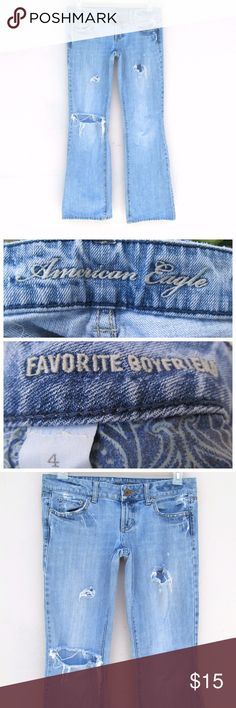 SALE American Eagle Distressed Boyfriend Denim American Eagle Destroyed Ripped Torn Distressed Boyfriend Denim Size 4I offer bundle discounts! American Eagle Outfitters Jeans Boyfriend