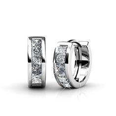 8a26f696df81 YOURDORA Mujer Pendientes Aro Pequeña de Plata con Cuadrado Cristales  Swarovski Exquisito Regalo Joyería para Niña y Día de la madre