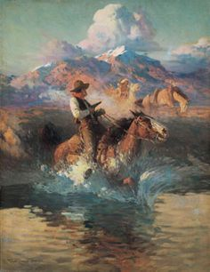 """Love this Painting from the #SidRichardsonMuseum #art  """"Trouble on the Pony Express"""