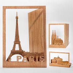 Vielseitige Grußkarten aus Holz - Städte - Geschenke von Geschenkidee