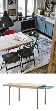 IKEA PS 2014 table with storage. Solid pine; a natural material that ages beautifully. Convenient drawer under the table top for storing silverware, napkins or place mats near the table. Designer: Mathias Hahn