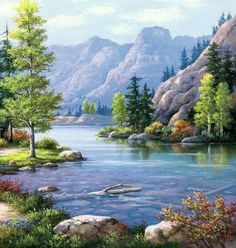 Hot Price BAISITE DIY Framed Oil Painting By Numbers Landscape Pictures Canvas Painting For Living Room Wall Art Home Decor . Canvas Pictures, Pictures To Paint, Art Pictures, Watercolor Landscape, Landscape Art, Landscape Paintings, House Landscape, Summer Landscape, Mountain Landscape