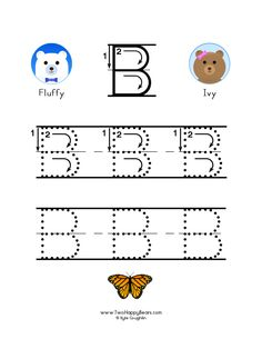 How to write the letter B, with large images to trace for practice, in free printable PDF format. Learning Letters, Kids Learning, Letter Writing Format, Free Printable Alphabet Worksheets, To Trace, Tracing Letters, Letter B, Colorful Pictures, Preschool Activities