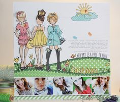 Fawn Nichol_Let'sPolka_layout I'm LOVING these paper dolls!Nichol_Let'sPolka_layout I'm LOVING these paper dolls! Prima Paper Dolls, Prima Doll Stamps, Vintage Paper Dolls, Scrapbooking Layouts, Scrapbook Pages, Mama Elephant Cards, Book And Frame, Lawn Fawn Blog, Whimsy Stamps