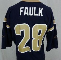 ... Marshall Faulk 28 St. Louis Rams Logo Athletic NFL Blue Jersey - L  Large ... 873d6a978
