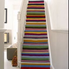 Painted stairs  - it's the wobbles that make it so cool          I wish I had the nerve to do this to mine !!!!
