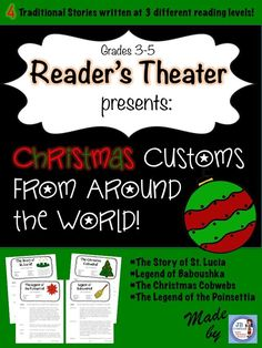 Focus on differentiation with this Christmas Around the World set of leveled Reader's Theaters!  This set focuses on 4 important customs celebrated around the world at Christmas time.  Written on 3 separate reading levels, it is easy to match each student with a part that meets their individual need!  Each script contains 5-6 parts, making it great for guided reading groups…