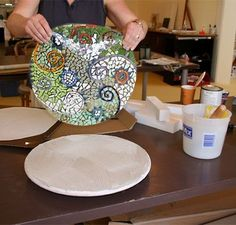 indirect method - different method for pre-making mosaics designs on sticky paper before thinset step.