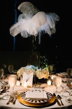 Glamorous Pittsburg Wedding Inspired by the Jazz Age - wedding centerpiece idea. photo: Joey Kennedy