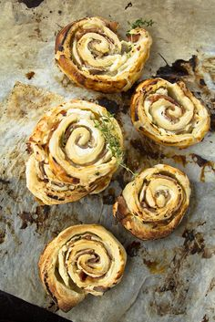 puff pastry, ricotta and ham rolls