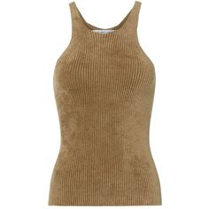 Helmut Lang Women's Velveteen Chenille Tank (3070 MAD) ❤ liked on Polyvore featuring tops, tanks, brown, helmut lang tank, brown top, brown tank, brown tank top and helmut lang