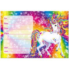 Rainbow Majesty Invitations by Lisa Frank - perfect invitation for a theme birthday party! 31st Birthday, Unicorn Birthday Parties, Unicorn Party, Baby Birthday, Birthday Ideas, Rainbow Birthday Invitations, Winter Party Themes, Carousel Party, 90s Theme