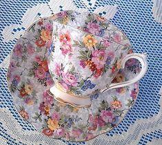 Royal-Albert-c1920s-Crown-China-Teacup-amp-Saucer-Chintz-Tea-Cup-and-Saucer-1218
