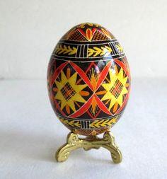 Pysanka Egg, decorated Ukrainian Easter egg, batik egg hand painted chicken egg ornament. $25.95, via Etsy.