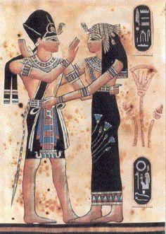 Papiro egipcio Ramsés II y Nefertari