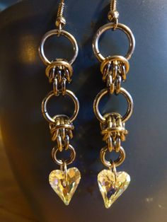 Cute Chainmaille Earrings with Hearts!