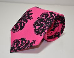 black and hot pink demask tie for groom