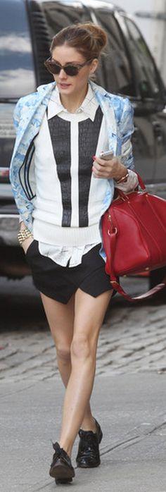 Who made Olivia Palermo's blue watercolor blazer, black shorts, shirt, red handbag, and sunglasses that she wore in New York on May 13, 2013? Jacket – Tibi  Sunglasses – Wunderkind  Purse – Louis Vuitton  Shirt – Kelly Wearstler  Shorts – Zara
