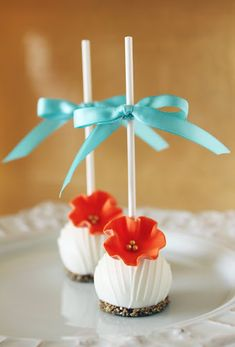 Flower cake pops #orange #blue