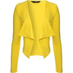 Jane Norman Waterfall front wave jacket ($20) ❤ liked on Polyvore featuring outerwear, jackets, cardigans, coats & jackets, yellow, jane norman, yellow jacket and waterfall jackets