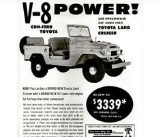 Land cruiser add for after market V8 engine.