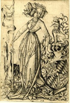 1465-1480 The lady with a lance and the coat of arms of the Count Palatine; Engraving Nice detail of lacing rings. Has pleats in front. Nice detail on the belt.
