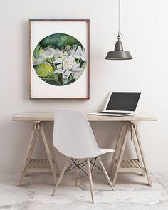Watercolor Flower Art Print Home Decor Minimalist Art Print