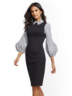 7d7f6dfc8fb4 Black   White Plaid Twofer Sheath Dress
