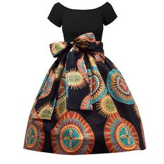 Meni African Print High Waist Full Skirt (Black/Sunburst Circles)