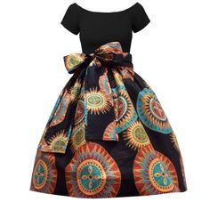 Meni African Print High Waist Full Skirt (Black/Sunburst Circles)