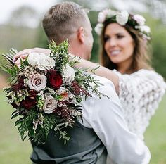 This bouquet of ivory, blush, and burgundy roses accented with greenery and tied together with rustic twine was a gorgeous fit for this fall wedding / 👰: 💐: 📷: Click the link in our bio to see more of this Ivory Wedding Flowers, Wedding Reception Flowers, Wedding Dresses With Flowers, Fall Wedding Bouquets, Rustic Wedding Centerpieces, Wedding Flower Arrangements, Bride Bouquets, Wedding Fun, Trendy Wedding