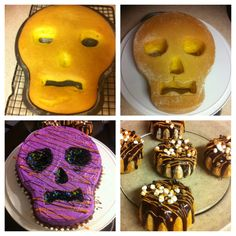 Made Halloween skull cake