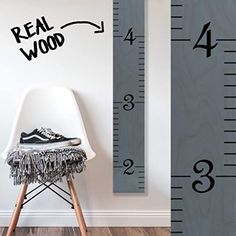 "Wooden Wall Growth Chart Ruler for Kids Girls Measuring Kids Height Wall D/écor Naked Birch//Black Lettering /""Our Growing Family/"" Boys Growth Chart Art"