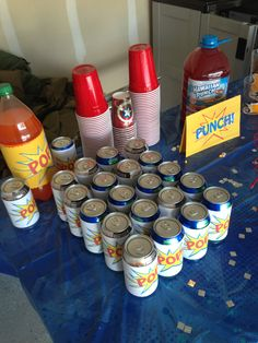 Beverages at superhero bday party