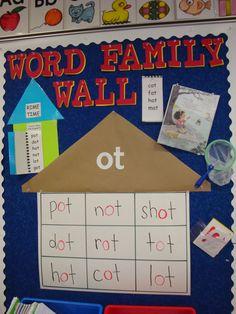 "Word Family Word Wall. Laminate the ""house"" so you can change words as you introduce new word families."