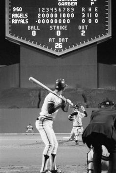 """California Angels pitcher Nolan Ryan throws his first career no-hitter on May 15, 1973. He struck out 12 and walked three. At the old """"K""""...loved that old scoreboard!"""