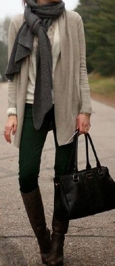 relaxed, casual tones, simple black pants, boots and bag, taupe sweater with scarf