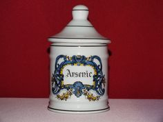 "Fine of French Limoges Porcelain Apothecary Jar "" Arsenic "" 