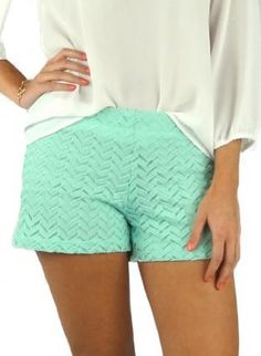 cute mint shorts, these crochet shorts are totally in style! a little shorter than i would like, but still cute.
