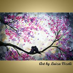 "Artículos similares a Cherry Blossom Landscape 36"" Painting Whimsical Love Birds  Fine Art by Luiza Vizoli Embellished Giclee en Etsy"