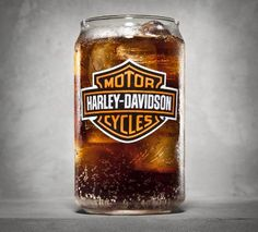 Bar & Shield Logo Soda Can Glass - 16 oz. soda can glass. Decal Bar & Shield logo on front. Made in the USA. Harley Davidson Online Store, Harley Davidson Gifts, Motor Harley Davidson Cycles, Harley Davidson Motorcycles, Harley Davison, Harley Bikes, Biker Chick, Motorcycle Parts And Accessories, Root Beer