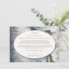 Wedding Invitation Inserts, Watercolor Wedding Invitations, Wine Barrel Wedding, Birch Tree Wedding, Rustic Wedding Inspiration, Wedding Ideas, Wedding Details Card, Simple Weddings, Country