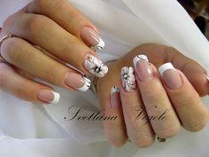 French Nail Designs, White Nail Designs, Nail Art Designs, French Nails, Bridal Nail Art, Beautiful Nail Art, Hand Designs, Simple Nails, Nail Arts